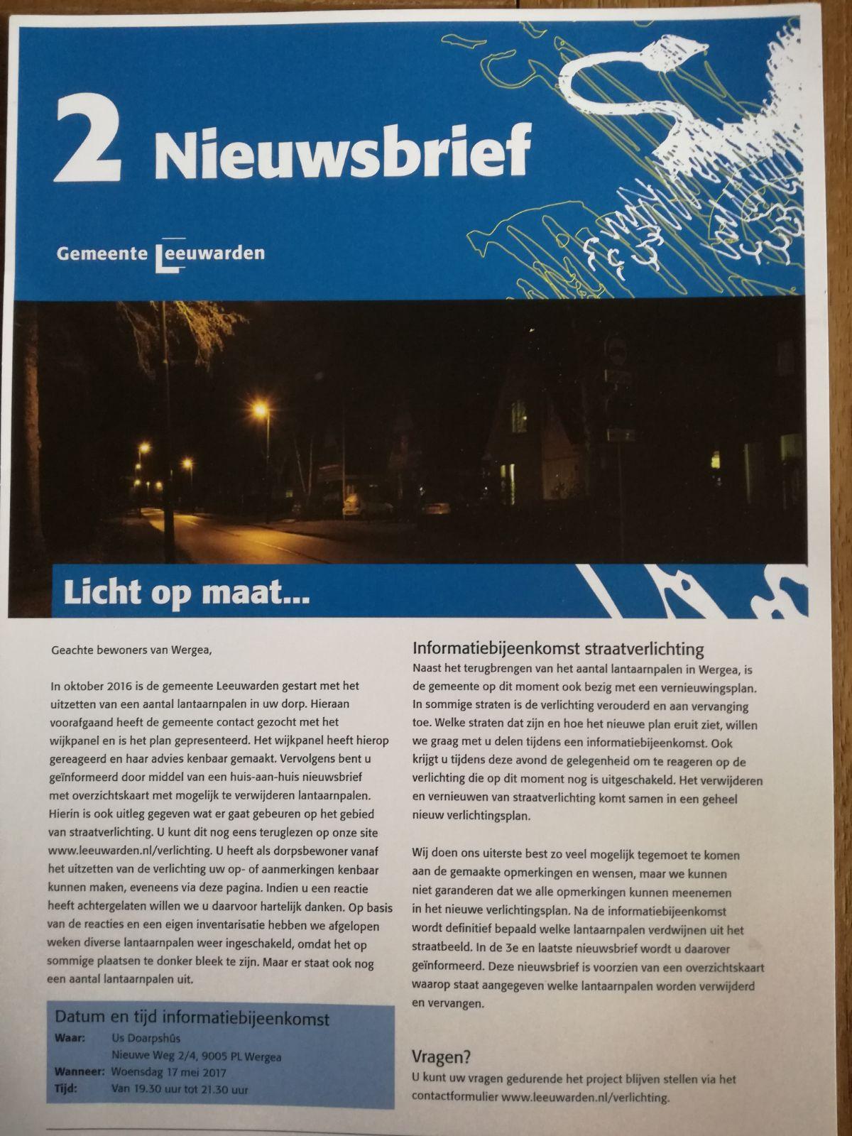 Informatiebijeenkomst straatverlichting Wergea
